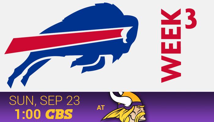 Bills at Vikings – Sep 23rd 1:00PM